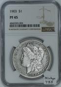 1903 Proof Morgan Dollar NGC PF-45; Mintage 755