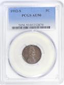 1912-S Lincoln Wheat Cent PCGS AU-50