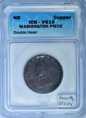 ND (1783) Double Head Washington Piece Colonial Copper ICG VG-10; Smooth, Glossy