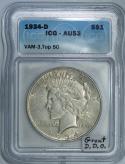 1934-D Peace Dollar ICG AU-53; VAM-3, Top 50; Great Doubled Die Obverse!