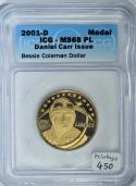 2001-D Daniel Carr Issue Bessie Coleman Dollar ICG MS-68 PL
