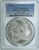 1798 Large Eagle Draped Bust Dollar PCGS VG Detail