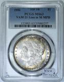 1886 Morgan Dollar PCGS MS-63; VAM-21 Line In M MPD; Top 100; Nice Toning!