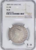 1809 XXX Edge Bust Half Dollar NGC VG-08; O-108, R-4; Scarce!