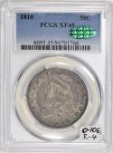 1810 Capped Bust Half Dollar PCGS & CAC XF-45; O-106, R-4