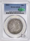1813 Bust Half Dollar PCGS & CAC XF-45; Nice