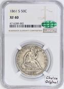 1861-S Seated Liberty Half Dollar NGC & CAC XF-40; Choice Original