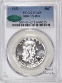 1951 Proof Franklin Half Dollar PCGS and CAC PR-65; DDR FS-801; Neat Variety!