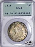 1821 Capped Bust Half Dollar PCGS MS-61; Premium Quality,