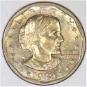 1979-P Susan B. Anthony Dollar Near Date, Wide Rim; BU; Nice Light Gold Toning