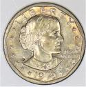 1979-P Susan B Anthony Dollar; Near Date, Wide Rim; BU; Nice Light Gold Toning