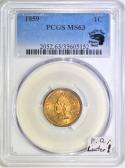 1859 Indian Head Cent PCGS MS-63 With Photo Seal; Premium Quality; Luster!