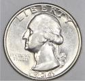 1934 Light Motto Washington Quarter; Choice AU; Scarce