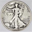 1919 Walking Liberty Half Dollar; Choice Original F-VF