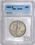 1917-D Reverse Walking Liberty Half Dollar ICG AU-58; Tough Coin!