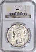 1927 Peace Dollar NGC MS-62