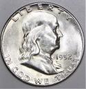 1952-S Franklin Half Dollar; Choice BU+; Frosty White