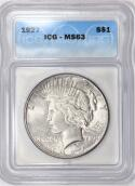 1927 Peace Dollar ICG MS-63