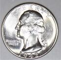1942 Washington Quarter; Gem BU; Frosty White