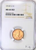 1918-S Lincoln Wheat Cent NGC MS-64 RD; Premium Quality!