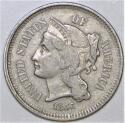1866 Three Cent Nickel; XF