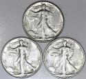 1945-P,D,S Set Walking Liberty Half Dollars; All Three Nice Choice AU+