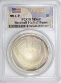 2014-P Baseball Hall of Fame Silver Dollar PCGS MS-69 First Strike