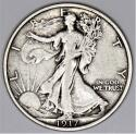 1917 Walking Liberty Half Dollar; Choice Original XF