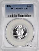 1953 Proof Washington Quarter PCGS PR-67 CAM; Haze-Free
