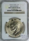 1976-D Type 2 Broadstruck Eisenhower Dollar NGC MS-66; Bicentennial Mint Error!