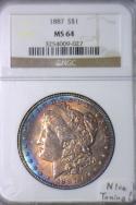 1887 Morgan Dollar NGC MS-64 Nice Toning!