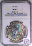 1881-S Morgan Dollar NGC MS-64+; Great Color!