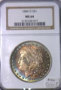 1884-O Morgan Dollar NGC MS-64 Nice Color!